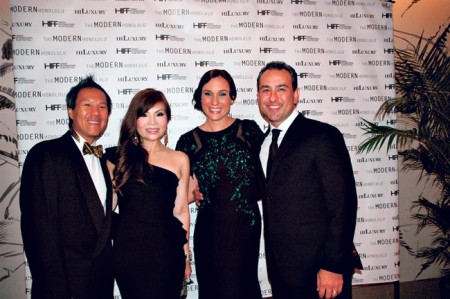 Dr. Michael and Kristen Chan, and Nicole and BJ Kobayashi. The question of the night: Who are you wearing? Kristen has on a one-shoulder gown by La Petite Robe, and Nicole is wearing an embellished gown with sheer panels by Badgley Mischka.
