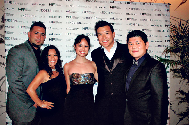 Chico Powell, Angela Laprete, Nadine Truong, Brian Yang and Brent Anbe. Brian, who plays Charlie Fong on Hawaii Five-O is wearing a custom-tailored suit from Macways in Thailand. Brent, who handles casting for extras on Five-O, is wearing a suit from Zara.