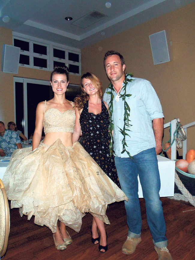 Hawaii Five-O star Alex O'Loughlin with designer Natalie Hux and model Britany LaMonica, who's wearing a top and skirt made from pattern paper.