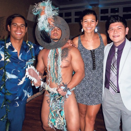 Sustainable Coastlines co-founder and event director of Hawaii operations Kahi Pacarro with Kawika Nunes, Louise Pacarro and Brent Anbe, who handles extras casting for Hawaii Five-O. The show wrapped season 3 last month, but will return in July to begin work on season 4.