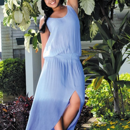 Chelsey Madrona: Tiare Hawaii 'copa cabana' dress in ombré periwinkle $92, Washed Up Jewels earrings $52, Ocean Dreamer Florals dainty flower crown $25
