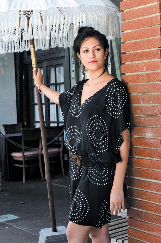 atalia Villegas: Gypsea jellyfish dress $78, Gypsea belt $27, Leslie Gallagher gold-fill disc hoop earrings $120