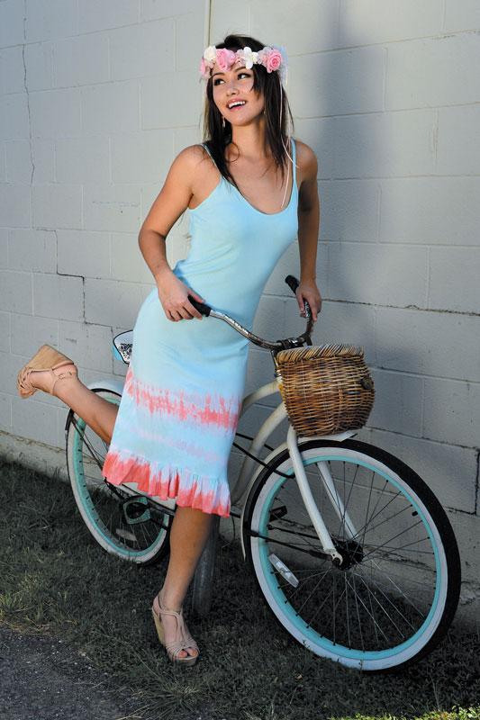 Olivia Trask-Lopez: Bali Designs 'Bias' dress $98, Leslie Gallagher coral earrings $140, Ocean Dreamer Florals romance crown $65