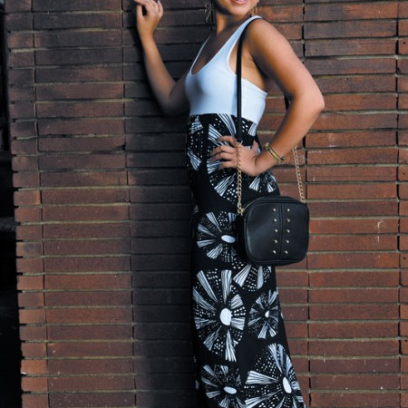 Chelsey Madrona: Otaheite 'Honolua maxi' in wana black and white $115, Leslie Gallagher earrings $180 and pearl bangle $100, Joseph d'Arezzo bag $68