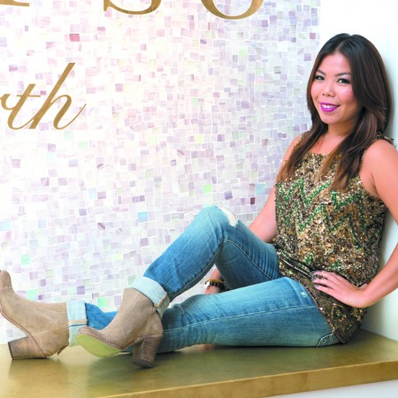 Michelle Tom: Calypso St. Barth 'Randori' sequinencrusted tank top $325, Adriano Goldschmied destroyed wash skinny jeans $235, Hoss zip-back suede bootie $395, and Sisco & Berluti wood bead bracelet $95 each and metal bead bracelet $50 each