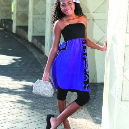 Mia Alexander: Nui Fashions tube dress $45, Arissa clutch $35 and purple flower pick $8 (or three for $20)