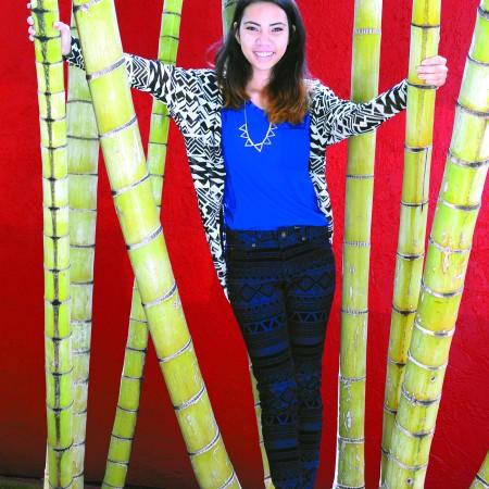 Zoe Shimizu: Umgee tribal mesh kimono cardigan $34, Umgee hi-lo side button tank $32, necklace $12, Cielo Jeans USA tribal print skinny jeans $39, Styluxe 'Adar' ballet flats $26