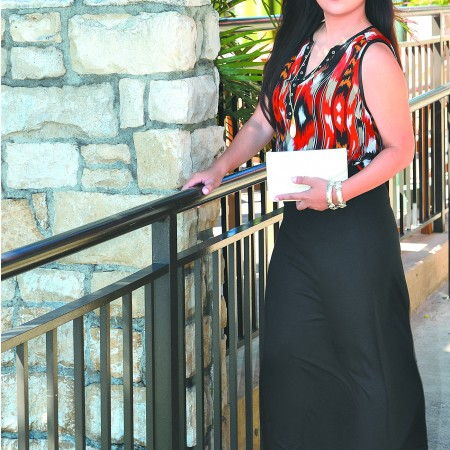 Stephanie Yasay: Manito chiffon tank $26, black foldover maxi skirt $22, DBDK Fashion 'sanliki' black crossover strap wedge sandals $39, necklace $12, bracelets $12 each, clutch with chain strap $16