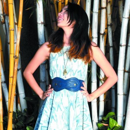 Zoe Shimizu: Signature8 denim dress $36, belt $16, necklace $12