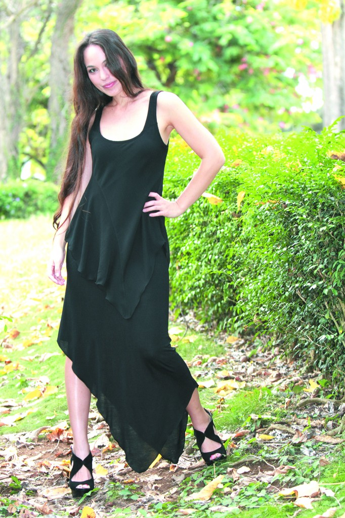 Tiarra Hoyt: 19th & Whimsy black asymmetrical jersey maxi with chiffon overlay $125