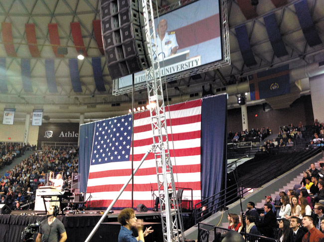 Former POW Jerry Coffee speaks recently at Liberty University's Vines Center. Susan Page photo