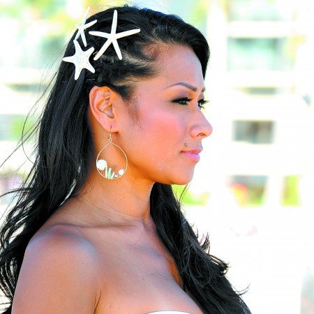 Alaine Akau: Lino Hau 'Shinell' earrings made with hand-picked Hawaiian sea fan shells from Oahu's North Shore, pink pearls, mother-of-pearl leafs and delicate sticks of aqua coral $138 (sterling silver) and $128 (gold-fill); starfish hairpins $9.75