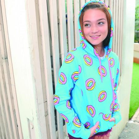 Malia Hardbarger: Odd Future 'all-over donut' hoodie $56