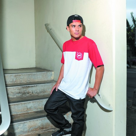 Alex Pendleton: In4mation 'in4m' CB tee in red/white $36, In4mation denim pants $68, In4mation 'In4m Oakland' snapback hat $36