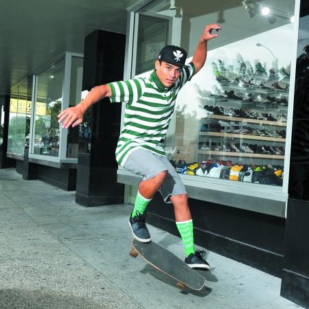 Alex Pendleton: Aloha Army 'heritage' snapback hat $36, Odd Future 'taco polo' in green/white stripes $60, Odd Future socks $14