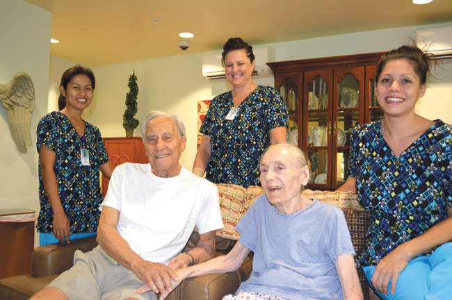 Ken and Jane Turner with Wilson Senior Living staffers (from left) Primerose Pasay, Mary Bowman and Heather O'Connor | Photo from Sandy Hoen