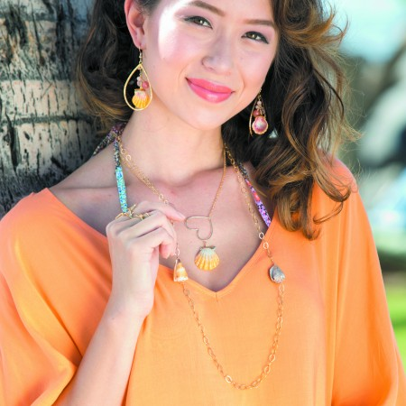 Marlie Hinshaw: Tidepool Love 'Sunrise Shell Blessings' earrings with semi-precious stones $158, 'Salty Kisses' sunrise shell necklace $210, 'Rocky Point' necklace with cone shells $132, 'Pineapple Country' ring in 14kt gold vermeil $88, 'Wave' statement ring in 14kt gold vermeil $110
