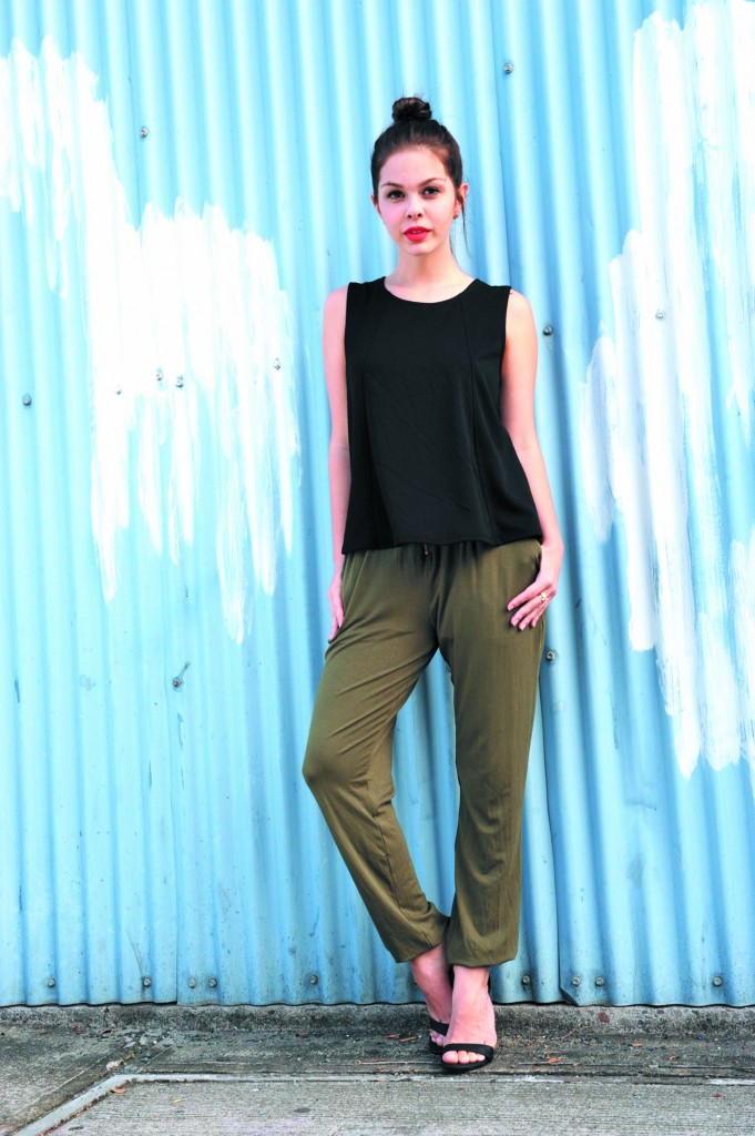 Rebecca Sekban: Zipper blouse in black $42 and zipper-front pants in olive $48