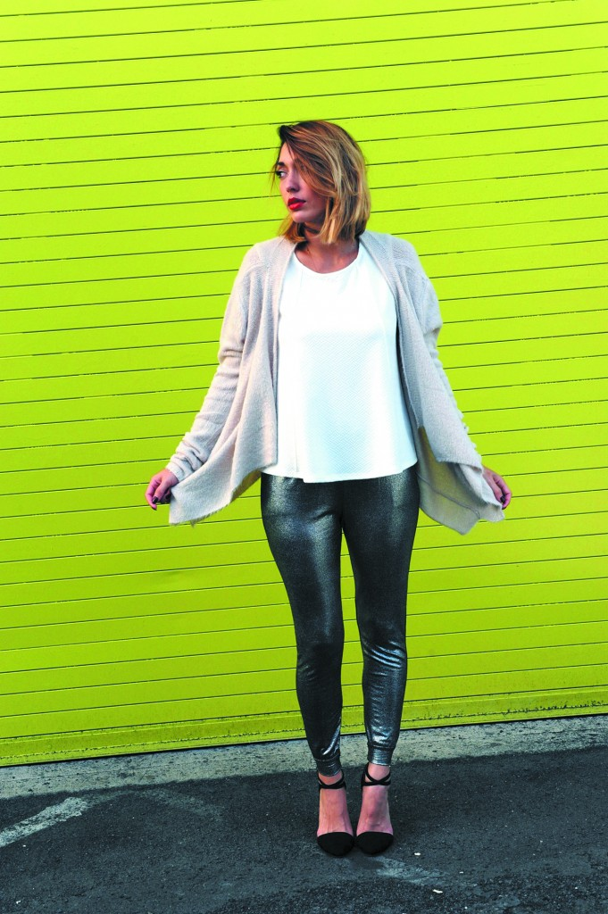 Mahina Boersma: White zipper blouse $42, fuzzy knit sweater in nude $72 and Joggers in silver metallic $58
