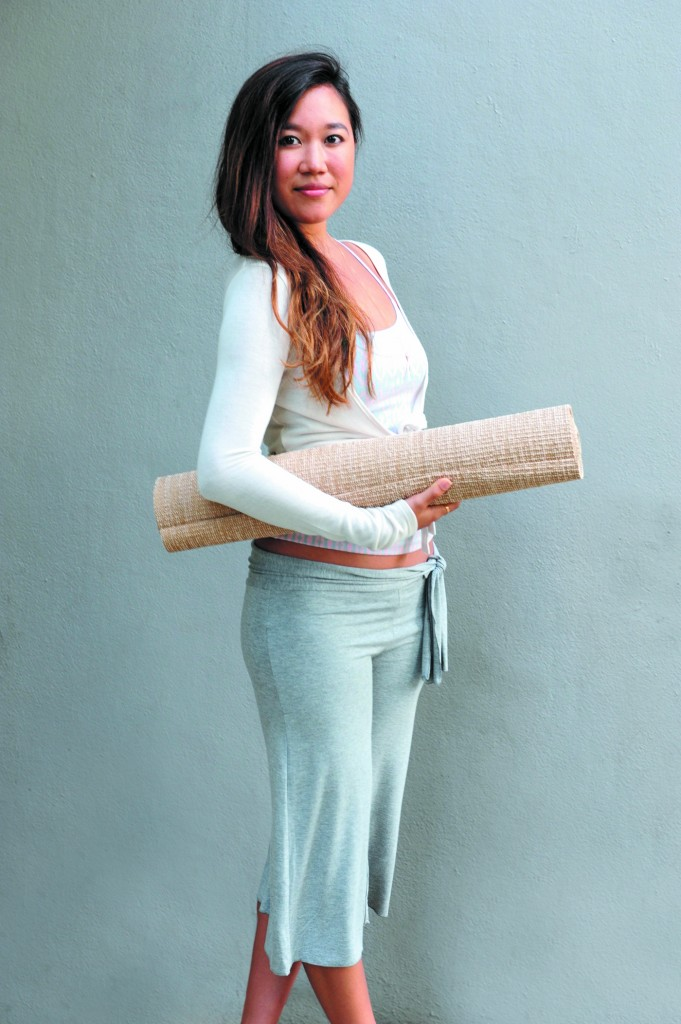 Masumi Ebata: Moani Yoga ethnic print camisole $35, waist-tie crop pants in gray $56 and wrap cardigan in white $42