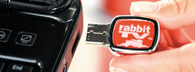Rabbit TV is a tiny USB device that plugs into your computer or phone | Photo courtesy Rabbit TV