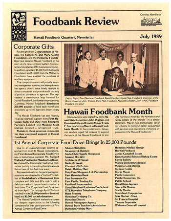 This 1989 Hawaii Foodbank newsletter touts the first food drive | Photo from Jade Moon