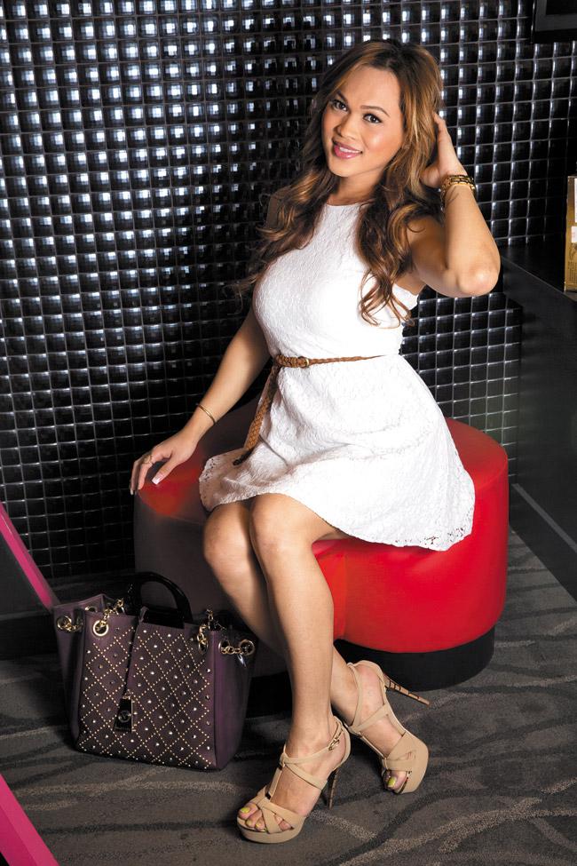 Astrolei 'Lei' Calon: FLAG-J 'RI0879' open toe pump with ankle strap in oak $89, Nicole Lee studded handbag in purple $139
