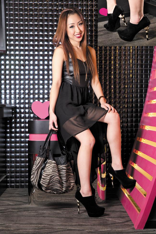 Veronica Lau: FLAG-J 'RI0927' black ankle booty with white and black colorblock heel $118, Feriis et FERIAS zebra studded handbag $138