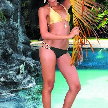 Keona Cross: Inbar Maor for LBDB Swimwear braid reversible triangle slide top $72 and reversible bottom $72, handmade shell necklace $35, shell earrings $25