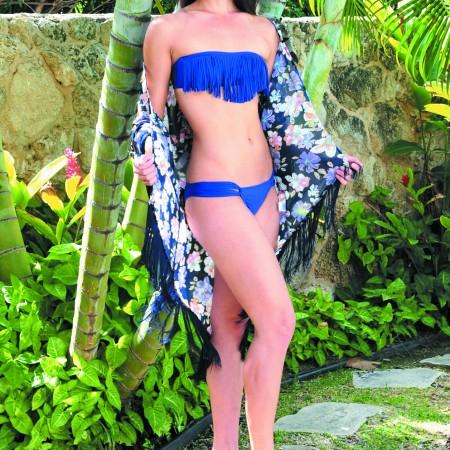 Jasmine Yoshino: L*Space 'dolly' fringe bandeau $74 and 'taboo' bottom $64, LBDB floral fringe chiffon cardigan $48, Moana Designs silver double hoop square shell dangle earrings $30
