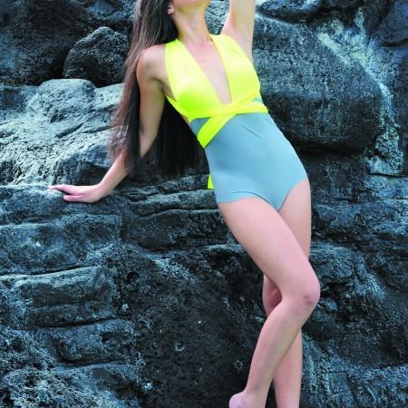 Brandi Hughes: KJKinis yellow-and-gray one-piece $65