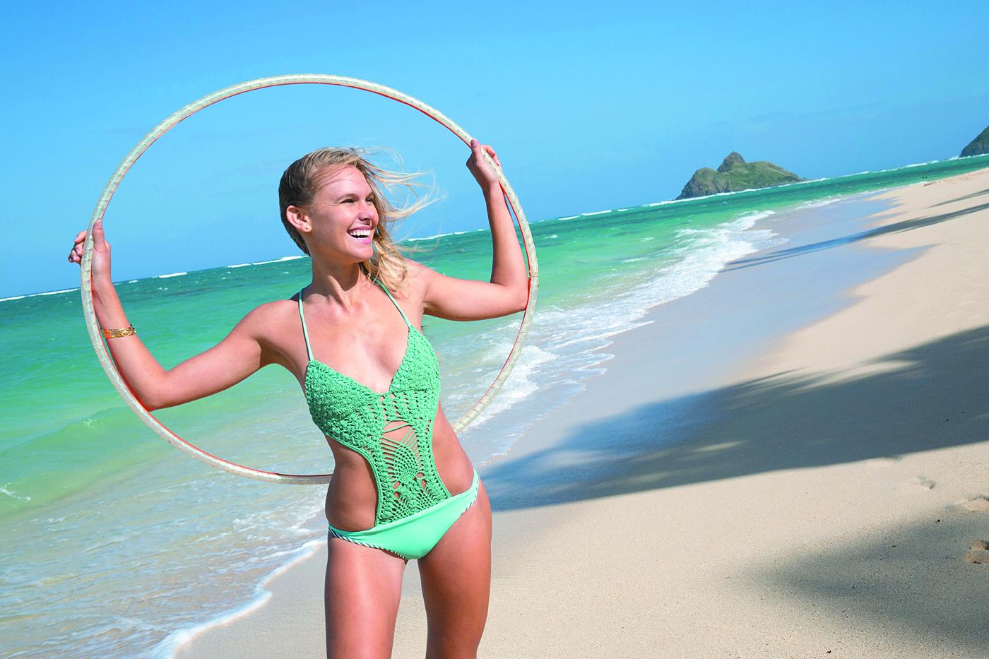 Dawn Hunt: Rove Swimwear 'Hana' one-piece in beach glass $204