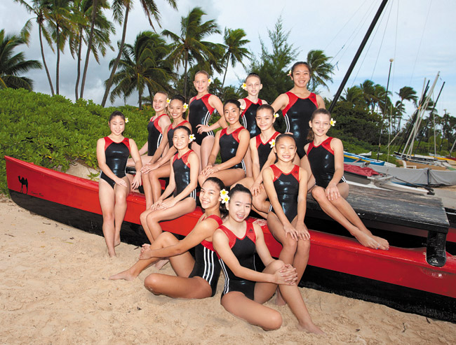 The Kokokahi Gymnastics Team (above), striking a local beachside pose, will host its 38th annual Aloha Gymfest this weekend at Le Jardin Academy gymnasium, welcoming hundreds of aspiring young athletes from as far away as Japan and Great Britain. Photo from Kokokahi Gymnastics Team.