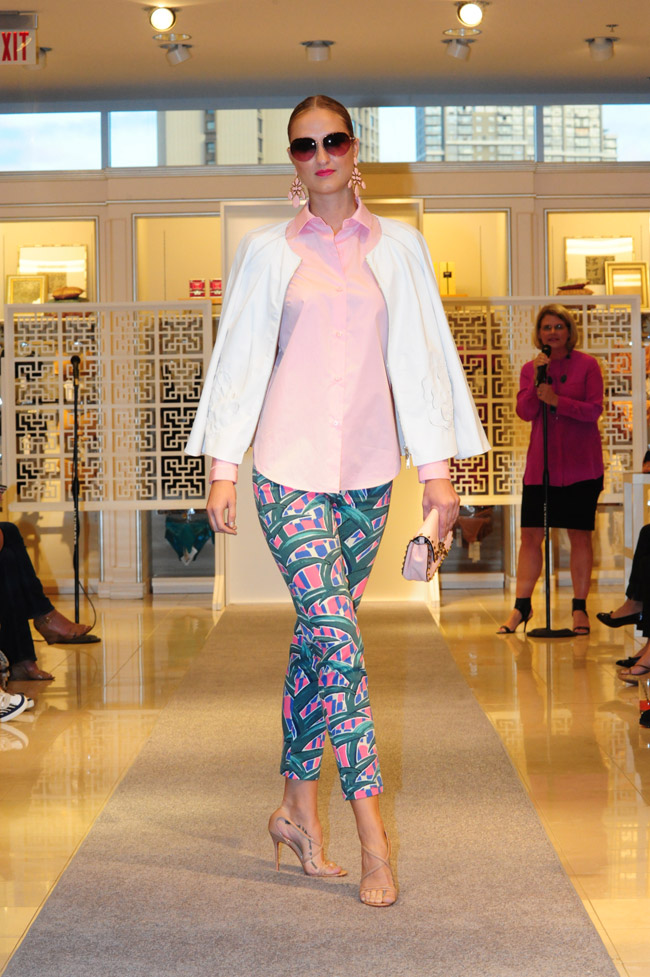 Mandy McGarry: Carven pink shirt with grosgrain cuff $390, Kenzo leaf print jeans $355, Lafayette 148 New York white leather jacket $998, Christian Louboutin nude patent sandals $745, Barton Perreira sunglasses $445, Oscar de la Renta pink chandelier earrings $395 and Valentino pink clutch with crossbody straps $1,495