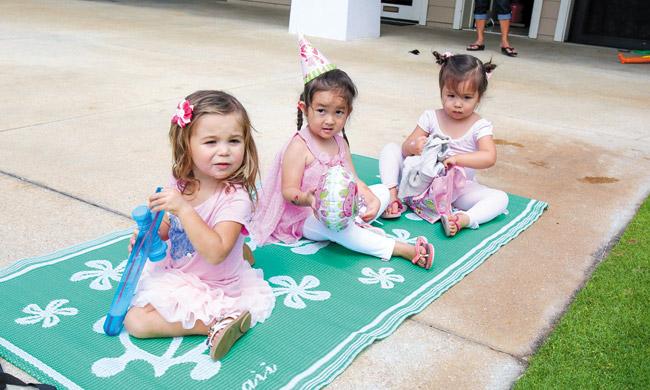 Hana Joaquin (from left), Maia Libby and Carys Price at Maia's birthday party Photo from Tannya Joaquin