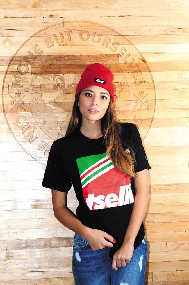 Alyson Kintscher: Tselli 'Block' T-shirt in black $25, illest 'Bold Cuff' beanie in red $10