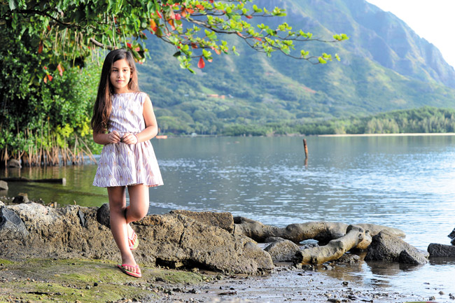 Kaua Carreira: Keiki Elements tie-back dress in orchid spider lily $45