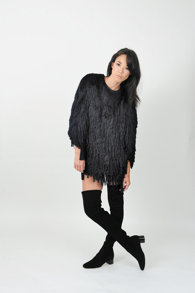 Nicole Broderick: H&M black fringe fur top $349, H&M black mini shorts $17.95, H&M black over-the-knee boots $199