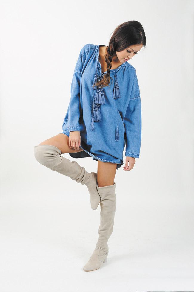 Angela Byrd: H&M denim dress $99, H&M suede knee-high boots $199
