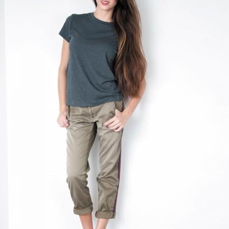Sierra Vaughn: Paper Denim & Cloth 'Wolcott' tee in fog $85, Current/Elliott 'The buddy trouser' in vintage army with stripe $228, Joie 'Kidmore' slip-on sneakers $190