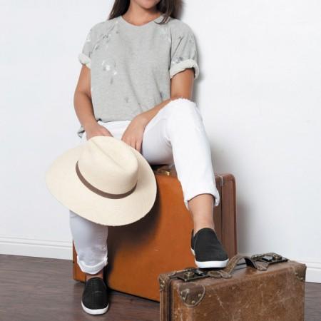 Kainani Clark: NSF 'Lucas' painted crew $127, Current/Elliott white jeans $248, Joie 'Kidmore' slip-on sneakers $190, Janessa Leone 'Gloria' hat $165