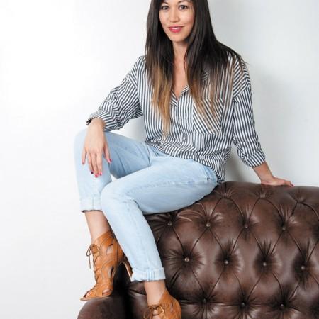 Nikki Thommes: NSF 'Rhodes' banker stripe shirt $219, Current/Elliott 'The Fling' slim boyfriend jeans in mariner $208, Joie brown lace-up booties $325