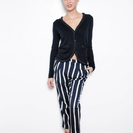 Sierra Vaughn: Clu cardigan with silk navy $187, Townsen 'Stripy' pants in abyss $198, Joie brown lace-up booties $325