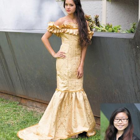 Designer: Sarah Yamashige  Model: Leilani Chow   Collection name: Redamancy   Outfit: Gold ribbon pleated damask dress
