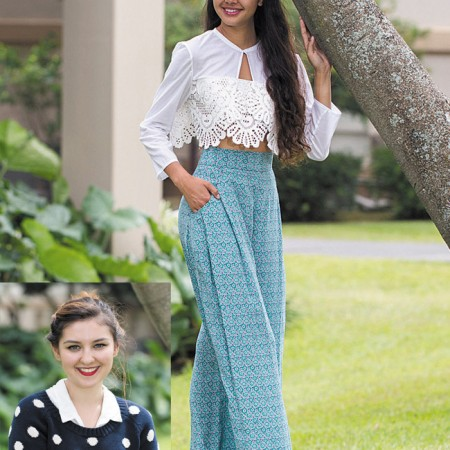 Designer: Tori Speere  Model: Leilani Chow  Collection name: Wind Swept  Outfit: White lace crop top and silk flowy pants