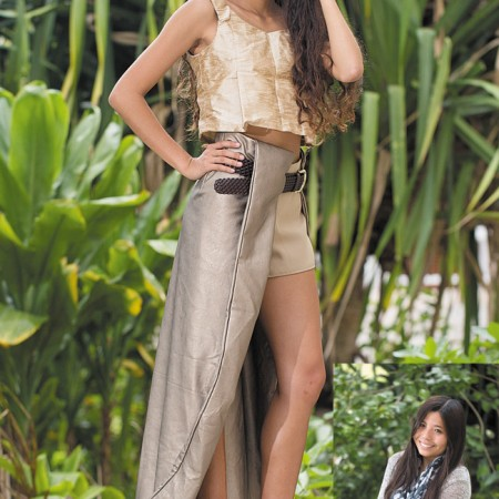 Designer: Ashley Castro  Model: Leilani Chow  Collection name: Salute  Outfit: Gold crop top with bamboo tie and lap skirt pants