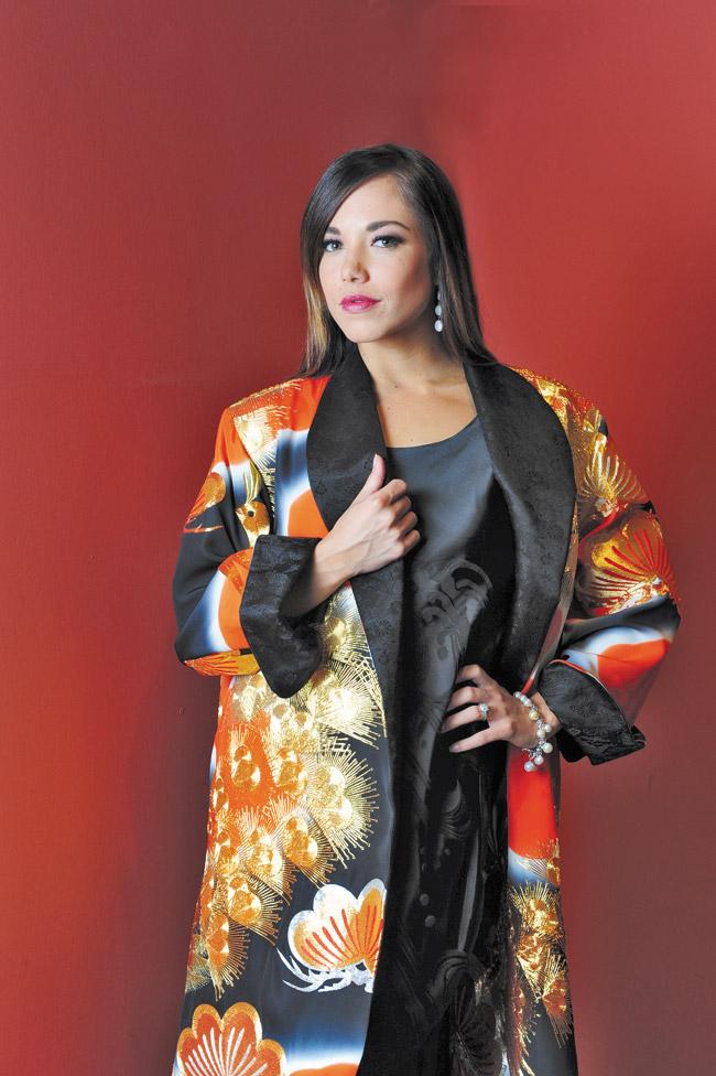 Shanna Hulme: Anne Namba Designs peacock embellished opera coat $1,200
