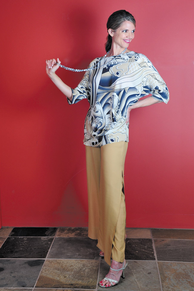 Audra Stevenson: Anne Namba Designs 'tattoo' side drape top $265 and silk double layer silk pants in sand $350