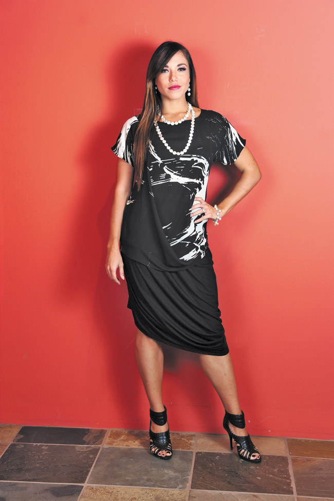 Shanna Hulme: Anne Namba Designs swag top in cream brush stroke $265 and bamboo cowl skirt $95