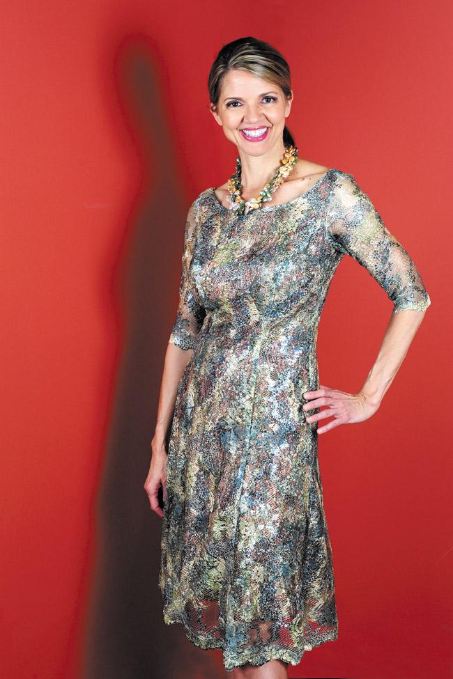 Audra Stevenson: Anne Namba Designs 'camo' lace over kimono dress $625